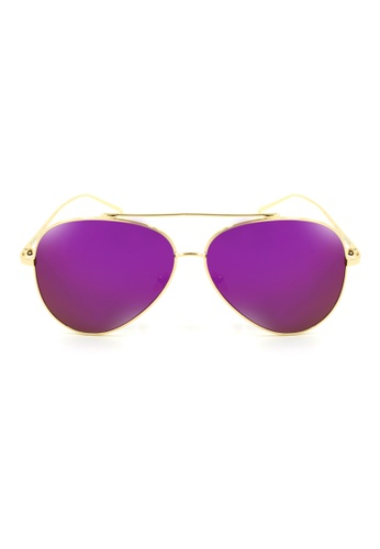 Maldives Eyewear purple and gold Cavalli Aviator Flat Lens Sunglasses 2253-Y MA573GL59NUAPH_1