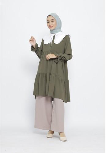 Mimamim green Tunik Aneska Ruffled collar 882FEAA00185B2GS_1