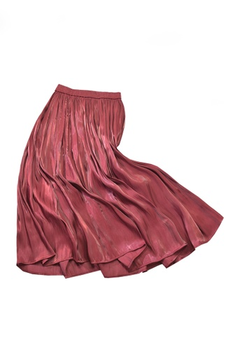 Twenty Eight Shoes red VANSA Pearly Yarn Pleated Skirt VCW-Sk18588 4A9CCAAFCAE919GS_1