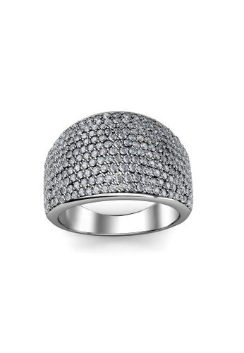 Her Jewellery silver Glamour Metal Ring (White) - Made with premium grade crystals from Austria HE210AC60OBNSG_1