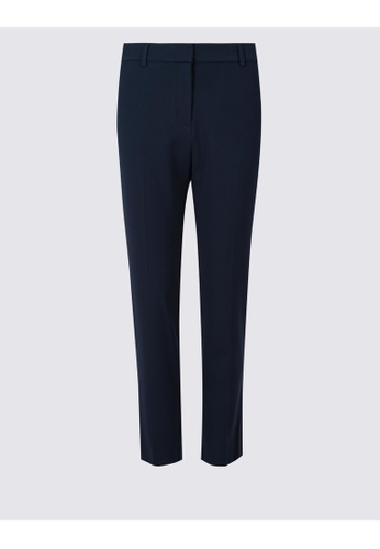 MARKS & SPENCER navy M&S Mid Rise Slim Leg Ankle Grazer Trousers C33D4AA662A86BGS_1