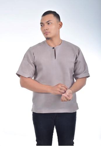 Assie Modesty grey and beige and brown Linen Kurta Teluk Belanga 897DEAA93218F1GS_1