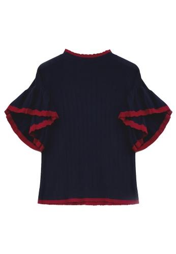 KLAPS navy Ruffles Trimmed Sleeves Sweater 1BB9EAACA74DBBGS_1