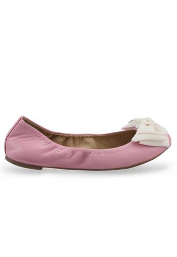 Shu Talk 粉紅色 布蝴蝶結羊軟皮芭蕾平底鞋 SH544SH099TTTW_1