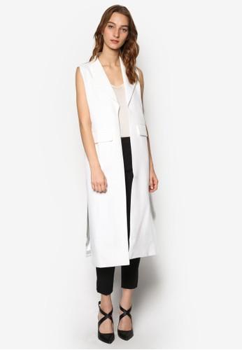 側開叉長版無袖外套,esprit女裝 服飾, 外套