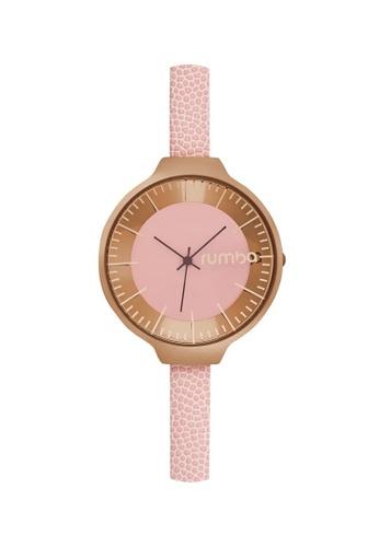 RumbaTime pink and gold Rumbatime Orchard Leather Watch Rose Smoke RU023AC93RTYHK_1