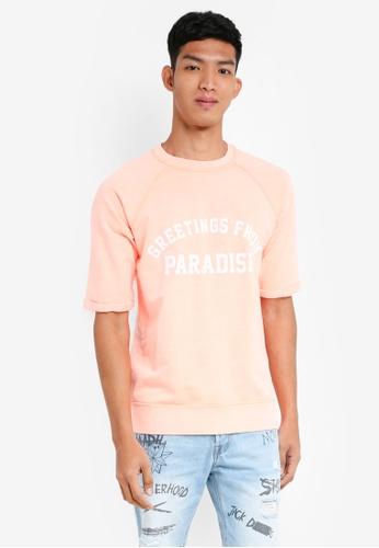 Jack & Jones 粉紅色 短袖文字衛衣 83E00AA60A3769GS_1