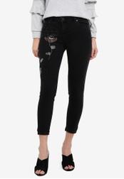 Dorothy Perkins black Petite Black Floral Beaded Jeans DO816AA0RSO7MY_1