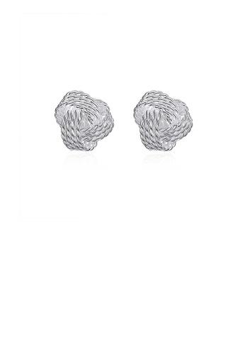 Glamorousky silver Simple Braided Ball Stud Earrings 8B339AC028A521GS_1