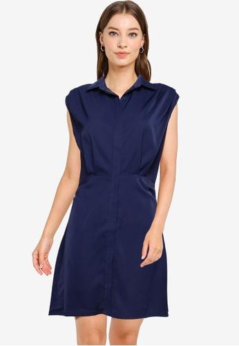 ZALORA WORK navy Pleat Shoulder Shirt Dress B61B3AAB46DF72GS_1