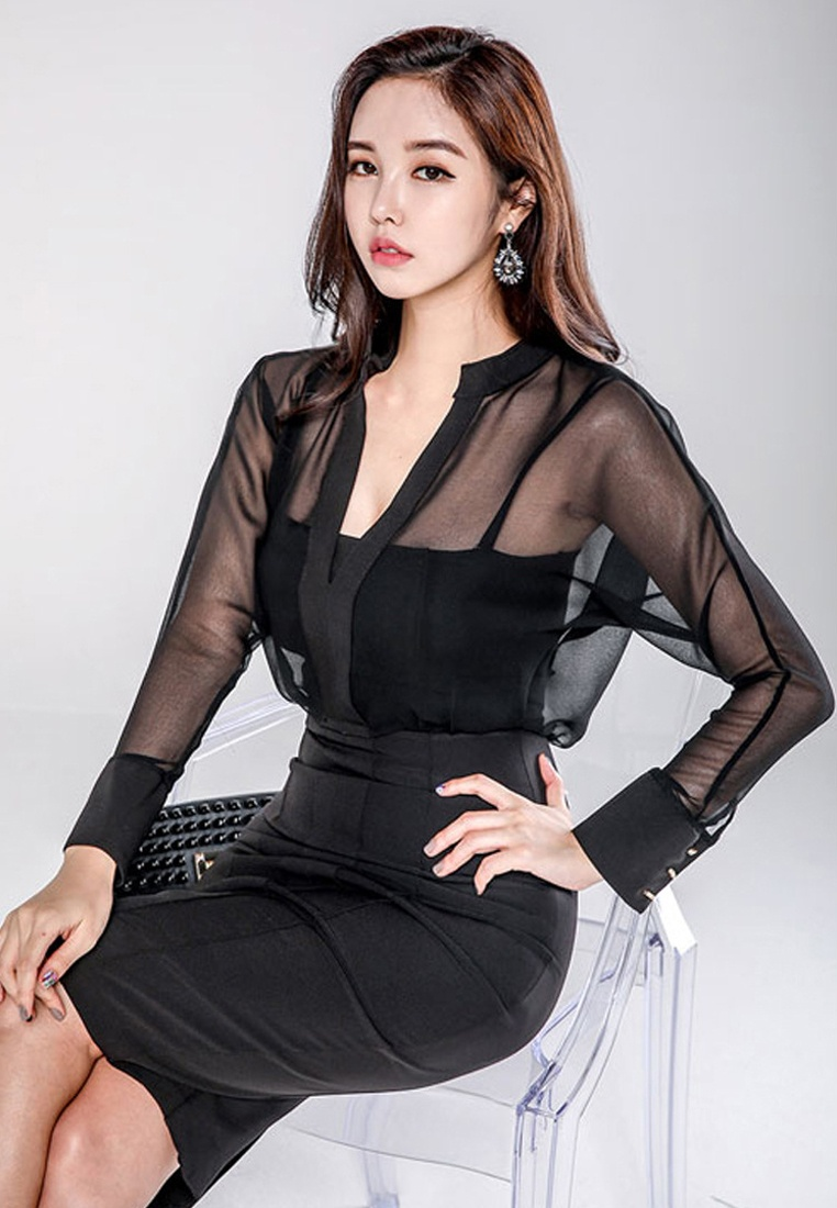 New CA011708 Sunnydaysweety Black Black See Dress One 2018 Piece Through dU860dwq
