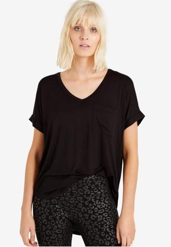 Cotton On black Karly Short Sleeve V Neck Top C60CDAA752815EGS_1