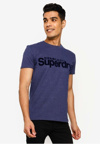 SUPERDRY blue Core Faux Suede Tee 71593AA5290B72GS_1
