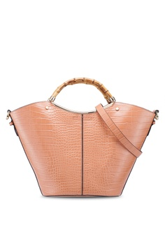 aab6960c0f0d TOPSHOP pink Tyler Bamboo Handle Tote Bag 68391ACEF922A8GS_1