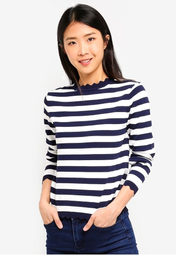 ZALORA BASICS multi Basic Striped Sweater With Scallop Details B6CE9AAFF73A21GS_1
