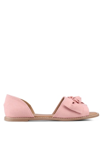 Rubi pink Lenny Bow Peep Toe Flats 3C808SHE24F817GS_1