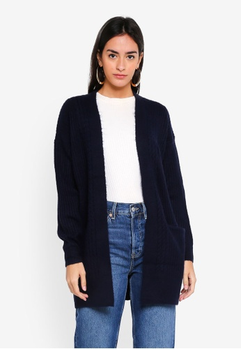 Miss Selfridge navy Navy Cable Longline Knitted Cardigan 44879AA002926FGS_1