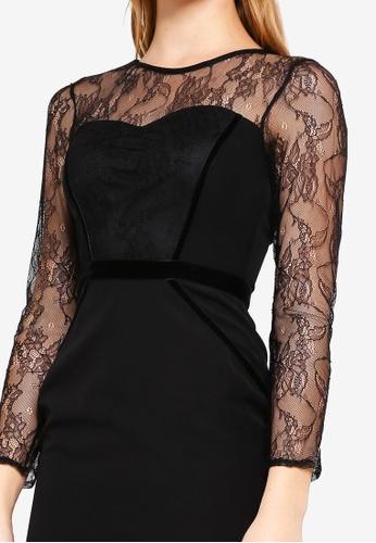 0e48a103de50c Buy Dorothy Perkins Black Lace Velvet Pencil Dress Online on ZALORA  Singapore