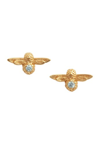Olivia Burton multi Celebration Bee Studs Gold Aquamarine OBJAME97 C077EAC05C5AF0GS_1