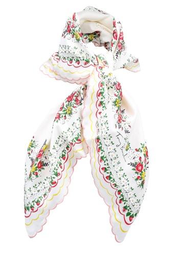TORY BURCH white Garden Veil Silk Square Scarf (zt) AE3D0AC9326EACGS_1