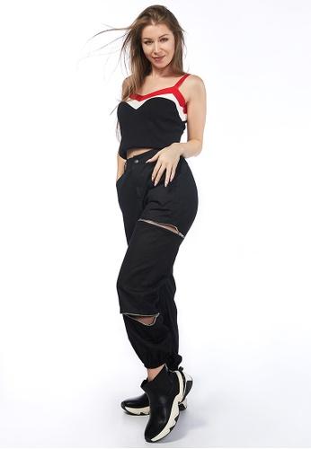 London Rag black Black Zipper Closure Slits Dance Track Pants C1296AA7D8322DGS_1
