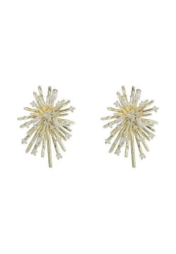 Red's Revenge gold 14K Gold Plated Starburst Stud Earrings D6606AC4C16F40GS_1