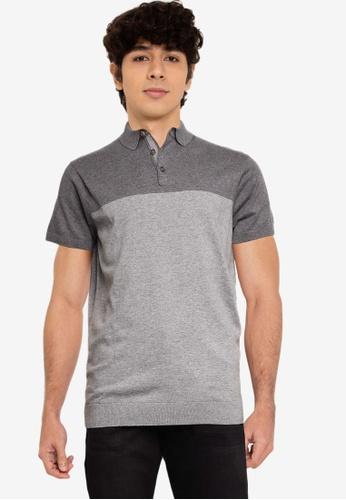 Springfield grey Colour Block Jersey-Knit Polo Shirt 8B60AAA73ADB65GS_1