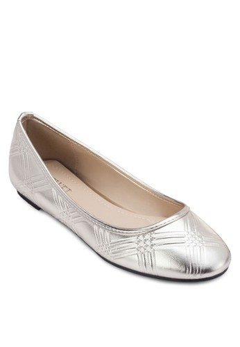 Debbie 暗紋圓頭平底鞋, 女鞋zalora退貨, 鞋