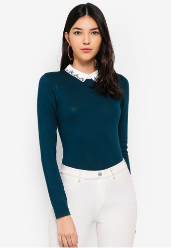 67d85d66b9e61 Buy WAREHOUSE Embellished Collar Top Online on ZALORA Singapore