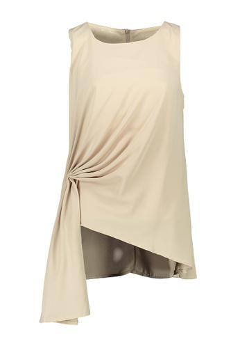 Kashieca beige Asymmetric Sleeveless Top D501AAA085BE28GS_1