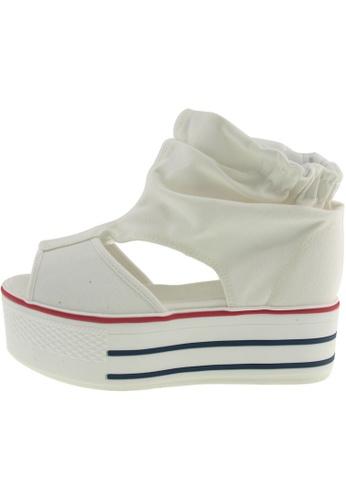 Maxstar 白色 新款韩国鞋C50-Wrinkle時尚帆布布混合女白色 US Women Size MA345SH67GUMTW_1