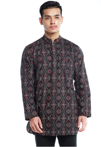 UA BOUTIQUE black Kurta KLB03-011 (Black/ Grey) 5E603AA68919D3GS_1