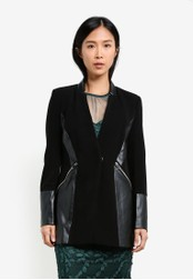 River Island black Faux Leather Blazer RI009AA0S9U0MY_1