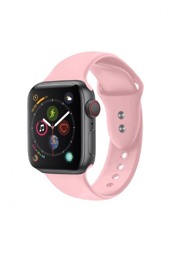 Promate pink Sporty Silicon Watch Strap for 42mm Apple Watch with Double Lock Pin E2E7FACC08B8B0GS_1