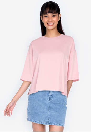 ZALORA BASICS pink Side Split T-shirt 972F9AA72AC08FGS_1
