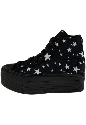 Maxstar 黑色 新款韩国鞋C50-7H-Star時尚帆布布混合女黑色 US Women Size MA345SH88GTRTW_1