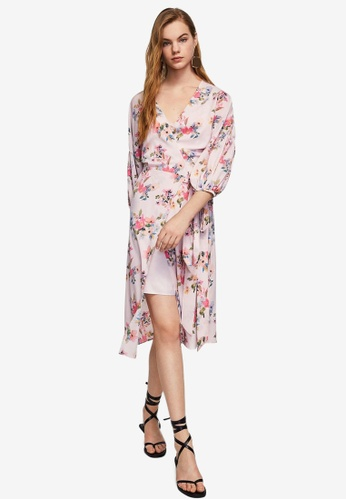 Mango pink Floral Chiffon Dress BE44DAA661C05AGS_1