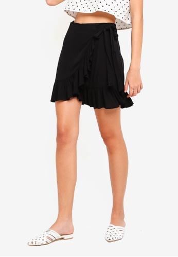Supre black Frill Wrap Mini Skirt B8B20AAF5A69CAGS_1