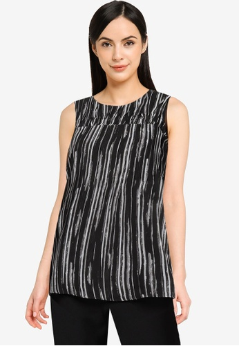 G2000 black Brush Print Blouse with Ruched Yoke D5A67AA9AE1498GS_1