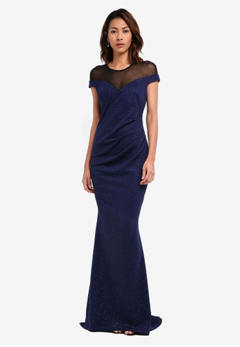 Goddiva navy Pleated Glitter Maxi Dress With Mesh Detail BE20CAAC8C749FGS_1