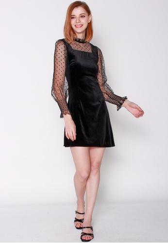 JOVET black Dotty Velvet Dress B3DDFAAE2AB8B2GS_1