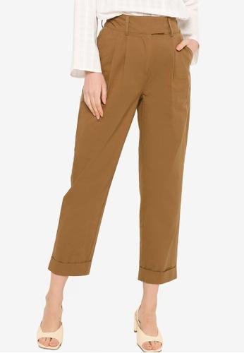 ZALIA BASICS brown High Waisted Pleated Trousers 429BEAA3535E4BGS_1