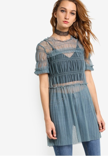TOPSHOP grey Tulle Ruch Tunic Top TO412AA85NNUMY_1