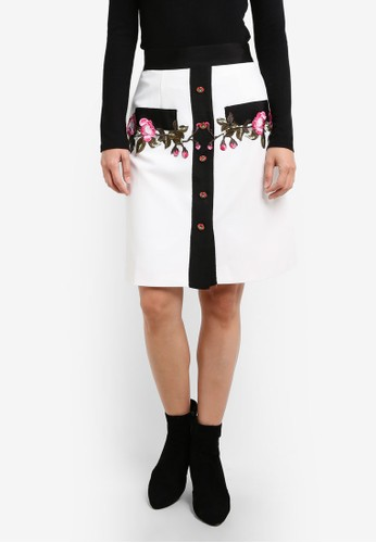 Megane white Garlyn Embroidery Skirt ME617AA0S0VMMY_1