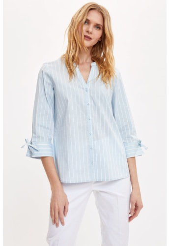 DeFacto 藍色 Long Sleeve Shirt 9609CAAFD803CAGS_1