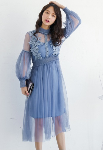 Shopsfashion blue Bubble Sleeve Vintage Look Dress in Blue FF9C3AAD59658CGS_1