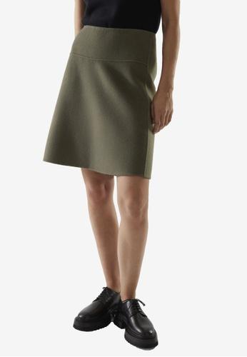 COS green Double Face Mini Skirt 792F5AAC1551D4GS_1
