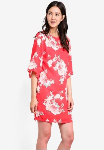 Wallis pink Coral Oriental Flute Sleeve Dress WA800AA81GPAMY_1
