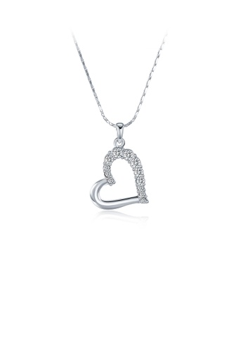Glamorousky white Simple Romantic Hollow Heart Pendant with Austrian Element Crystal and Necklace B44A9AC3C143C2GS_1