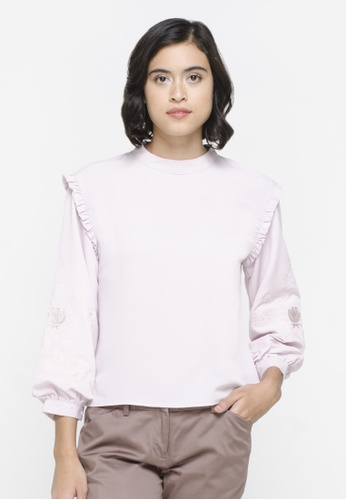The Executive purple Balloon Blouse 4E4D1AA92012C0GS_1